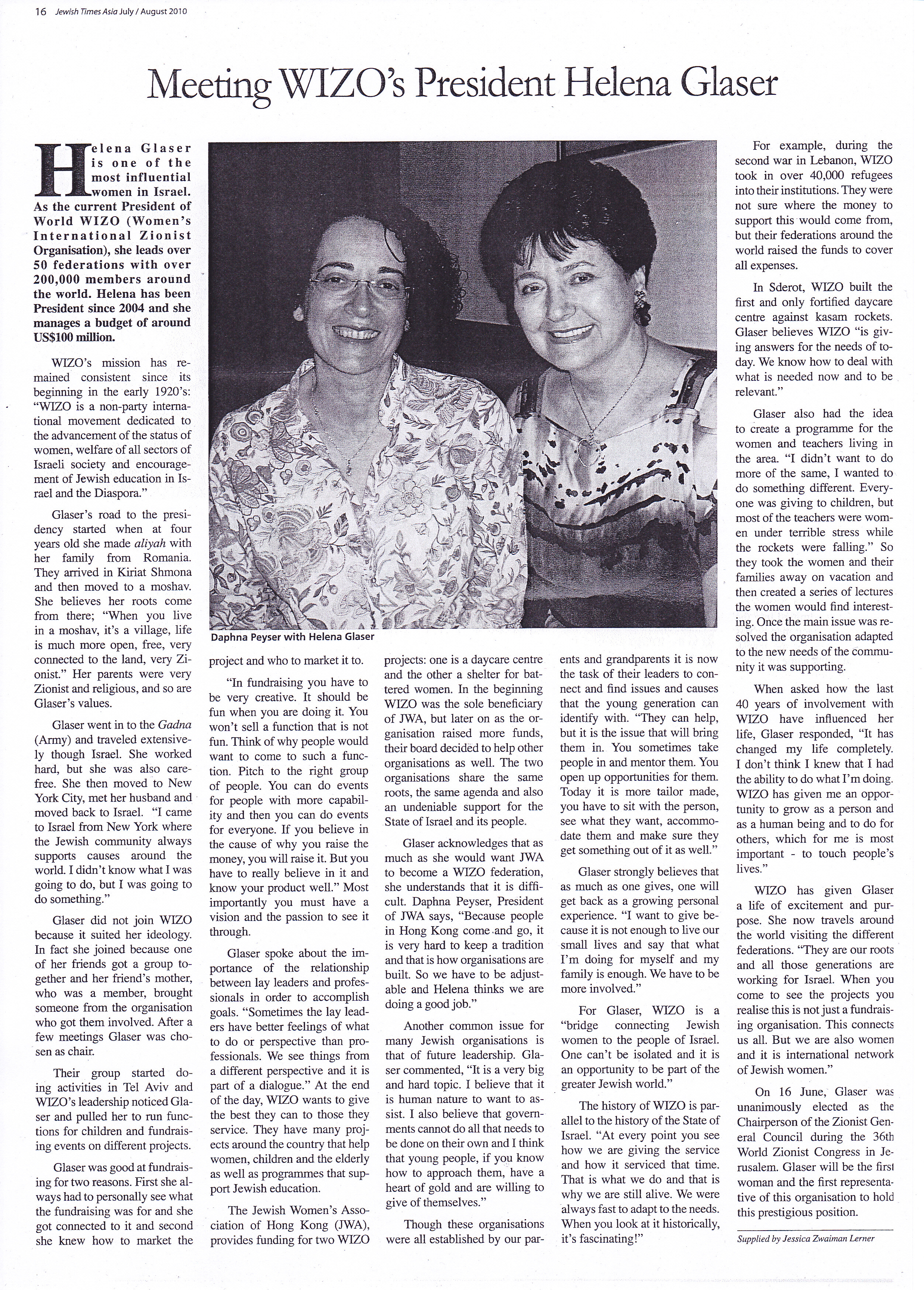 Jewish Times Asia: July/August 2010 – Helena Glaser